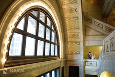 Beautiful architecture at the Chicago Cultural Center - Wedding picture by Chicago Wedding Photographer - Nakai Photography - Bride and groom - Vera Wang Dress