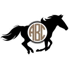 Silhouette Design Store: wild horse monogram frame