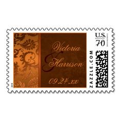 Copper and Brown Damask Wedding Postage