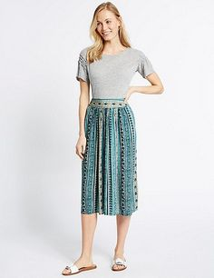 Printed Straight Midi Skirt (Marks and Spencer)