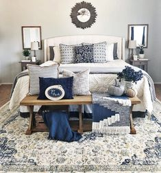 Master bedroom-navy blue bedroom Looking for master bedroom ideas should be prio. - Home decor bedroom - Boho Bedding Navy Master Bedroom, Bedroom Walls, Navy Blue Bedrooms, Blue Bedroom Decor, Woman Bedroom, Farmhouse Bedroom Decor, White Bedroom, Bedroom Ideas, Blue And Cream Bedroom