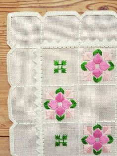 Beautiful embroidered tablecloth in white linen from Sweden