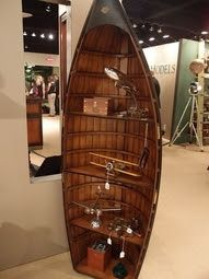 Vintage water skis as shelves lake house decorating my for Fishing decor for man cave