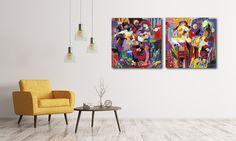Links of rechts? Voor welk modern kunstwerk ga jij? Laat het ons weten in een reactie onder dit bericht.  Interieur | Schilderijen | Wonen | Interieurideeen | Interieur woonkamer | Decoratie | Woondecoratie | Schilderij woonkamer | Schilderijen abstract | Moderne kunst | Woonaccessoires | Wanddecoratie | Kunst | Schilderijenshop