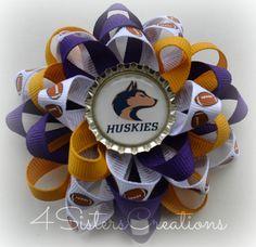 Flower Loop Bow M2M University of Washington Huskies UW Go Dawgs!