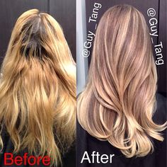 Guy Tang Hair Artist - 6 hours of color correction to get multidimensional results, weaving in low and highlights and use @A g Hair  firewall before curling, finish using @Kenra Professional Professional  silkening mist