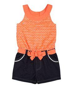 Little Lass Neon Orange Yoke Romper - Toddler by Little Lass #zulily #zulilyfinds