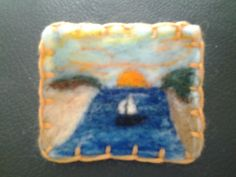 Needle felted brooch, handmade unique gift - sailing off into the sunset