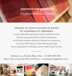 Conocé el nuevo Estudio para diseñar alfombras a medida de Elementos Argentinos!