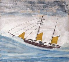 Alfred Wallis.       Fishing Boat with Two Masts and Yellow Sails