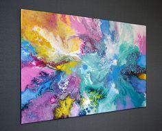 Resumen pintura original pintura acrílica vierta líquido