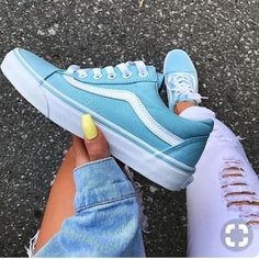 Firm Priceblue Vans With Suede Lining