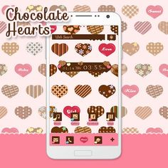"""Chocolate Hearts"" Available From:1/22 '16 (EST) Heart-shaped chocolates with different designs all lined up make for a sweet and lovey theme. http://app.android.atm-plushome.com/app.php/app/themeDetail?material_id=1407&rf=pinterest #cute #wallpaper #love #design #icon #plushome  #homescreen #widget #deco"