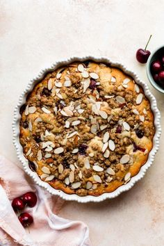 This cherry almond buckle dessert combines a soft and buttery cake with plenty of sweet juicy cherries. Hinted with almond and lightly topped with brown sugar crumble, it's just as flavorful and delicious as it is easy! Sweets Recipes, Just Desserts, Baking Recipes, Delicious Desserts, Summer Desserts, Cupcake Recipes, Summer Recipes, Cherry Recipes, Dessert