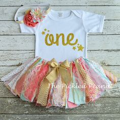 Pink Aqua Gold Coral 1st Birthday Girl Outfit by ThePickledPeanut