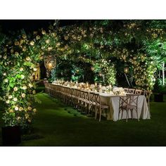 A lush and romantic reception set under the stars