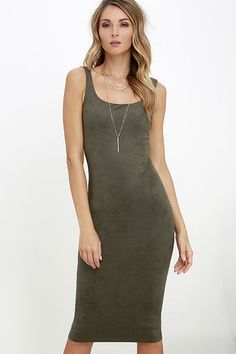 Add the Have it Suede Olive Green Midi Dress to your wardrobe, and you'll be set for life! Ultra-soft and stretchy microfiber suede shapes this classic, sleeveless dress with scoop neckline, sleek bodycon fit, and a midi length.
