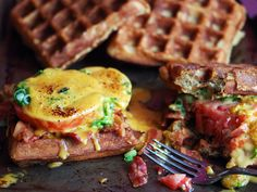 For the weary-traveler, or just the lover of amazing food. Welsh Rarebit On Beer Waffles With Bacon & Tomatoes. #noms