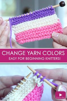 So much easier than I thought! How to Change Yarn Colors While Knitting for Beginning Knitters with Studio Knit - Watch Free Knitting Video Tutorial #StudioKnit #knittingtechnique #howtoknit #beginnerknitting #knittinghelp #knittingvideo