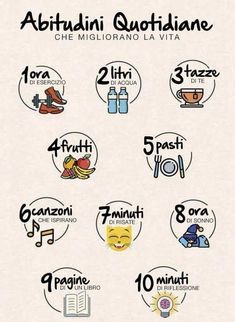 What do you think of these daily habits? I would increase the minutes of laughter and decrease the cups of tea and above all I would correct a mistake! Who finds the missing plural? Wellness Fitness, Health Fitness, Agenda Planning, Learning Italian, Think, Good Habits, Beauty Routines, Better Life, Self Improvement
