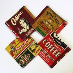 4 x Fabric Coasters - Vintage Coffee - monkey & bee