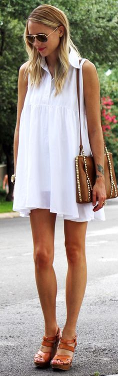 Asos White Flowy Sleeveless Shirt Dress