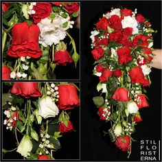 Droppformad brudbukett i hållare, med röda rosor och vita prärieklockor samt liljekonvaljer.