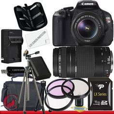 Canon EOS Rebel T3i 18 MP CMOS Digital SLR Camera w/ 18-55mm IS II & Canon EF 75-300mm f/4-5.6 III Telephoto Zoom Lens Package 5 by Canon. $769.99. Package Contents:  1- Canon EOS Rebel T3i 18 MP CMOS Digital SLR Camera w/ 18-55mm IS II & Canon EF 75-300mm f/4-5.6 III Telephoto Zoom Lens with all supplied accessories 1- 16GB SDHC Class 10 Memory Card 1- Rapid External Ac/Dc Charger Kit   1- USB Memory Card Reader  1- Rechargeable Lithium Ion Replacement Battery  1- We...