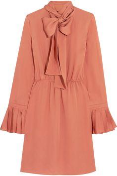 Gucci|Pussy-bow silk-georgette dress|NET-A-PORTER.COM