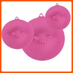 ME.FAN™ Silicone Cooking Pig Food Storage Suction Lids - Silicone Bowl Covers 3 Set Red - Fun stuff and gift ideas (*Amazon Partner-Link)