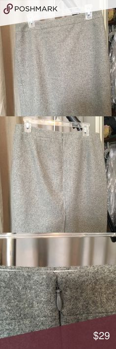 Jcrew grey wool pencil skirt. Classic! Beautiful gray classic wool pencil skirt. Perfect for professional, will never go out of style, can wear with almost any color blouse. Back zipper with eyehook, fully lined. Perfect like-new condition. Bundle with my other pencil skirts! J. Crew Skirts Pencil