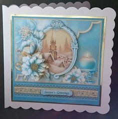 CHRISTMAS FROSTED FLORALS   CHURCH 8x8 Decoupage Mini Kit on Craftsuprint - View Now!