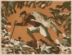 Artwork by Francisco Toledo, Hombre Y Pescado el Pozo, Made of Lithograph