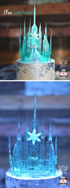 Frozen Wedding Theme Cake Topper Fantastical Wedding Cake Toppers fantasticalweddings.com Frozen Elsa Castle Cake Topper | http://artisancakecompany.com/