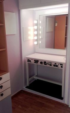 My room #vanity #lights #mirror #white #black #lilac
