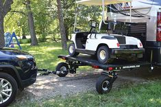 Tow a dinghy vehicle & your motorcycle or four-wheeler with the Swivelwheel Tandem Tow Dolly; the single wheel transport system for your ATV, golf cart & more. Motorcycle Carrier, Car Carrier, Camping Hacks, Camping Essentials, Rv Camping, Camping Michigan, House Essentials, Camping Kitchen, Camping Tools