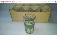 8 NIB Vintage Grecian hellenic pattern tumbler glasses GREEN with box