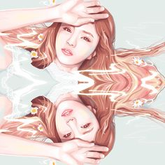 """""""When I think of you, the trees shake Every time I see you, the pinwheel spins This is proof that I like you a lot""""  OH MY GIRL – WINDY DAY #omg#oh my girl#jine#oh my girl jine#windy day#kpop#kpop fan art#kpop art"""