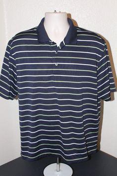 Champions Tour men (XL) polo shirt blue striped polyester short sleeve EUC #ChampionsTour #PoloShirt