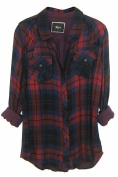 Rails Kendra Tencel Plaid Shirt in Garnet/Black