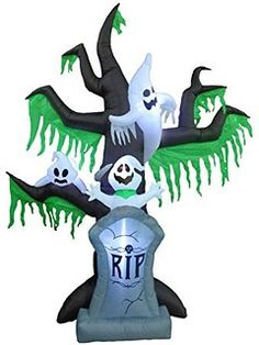 9 Foot Tall Halloween Inflatable Grave Scene Skeletons Ghosts on Dead Tree with…
