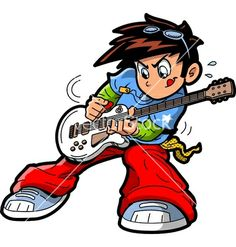 Anime manga guitar player vector 1444100 - by kennykiernan on VectorStock® Drums Cartoon, Cartoon Eyes, Girl Cartoon, Free Clipart Images, Royalty Free Clipart, Guitar Clipart, Drums Wallpaper, Male Cartoon Characters, Drum Lessons For Kids