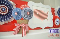 Fourth of July Patriotic Mantel and Make Paper Lollies!