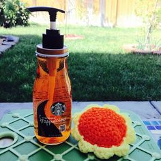 "lioness3tlz: ""Look what I made with my Starbucks Mocha Frappuccino bottle. A Dishwasher soap dispenser refill bottle!! Recycle pretty bottle..Love it!! Can also be use for hand cream ect. ..."