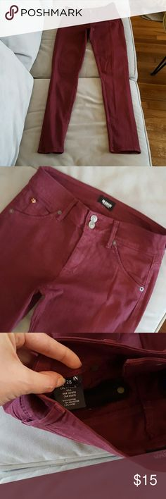 Hudson jeans Maroon color or wine maybe. Worn many times, but still great shape! Never dried or washed in chemicals. Hudson Jeans Jeans Skinny