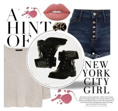 """""""Boots"""" by alehrs ❤ liked on Polyvore featuring H&M, Rosantica, MANGO, Kara, Refresh and Lime Crime"""