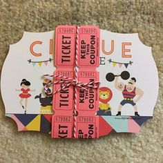 Cirque Soiree Party Invitation wrapped with Carnival Tickets & Striped Bakers Twine Carnival Invitations, Carnival Themes, Baby Shower Invitations, Party Invitations, Carnival Tickets, Vintage Circus Party, Circus Theme Party, Carnival Birthday, Vintage Carnival