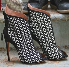 Alaia laser-cut suede booties