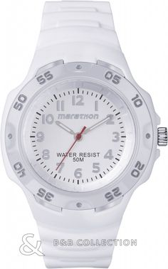 This unisex Timex Marathon Analog Full Size watch is made from plastic/resin and is powered by a quartz movement. It is fastened with a white rubber strap and has a white dial. Marathon Watch, Casio Watch, Rolex Watches, Fine Jewelry, Quartz, Unisex, Accessories, Shopping, Plastic Resin