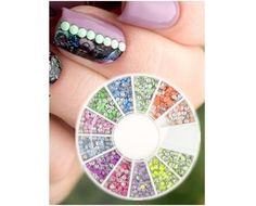 400 Pcs Nail Art Decoration 2mm Neon Round Stud Rhinestones Acrylic UV Gel Wheel #Unbranded